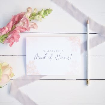 Will You Be My Maid Of Honour Card Blush Pink