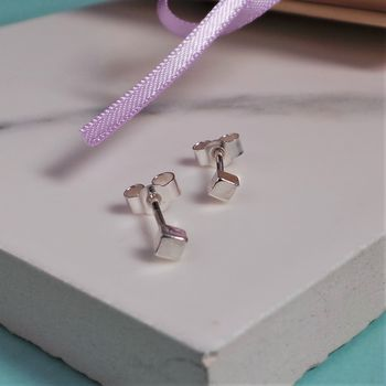 Tiny Cube Silver Stud Earrings