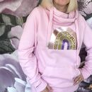 Light Pink Cowl Neck Rainbow Hoodie
