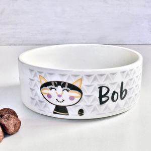 Geometric Personalised Cat Bowl - food, feeding & treats