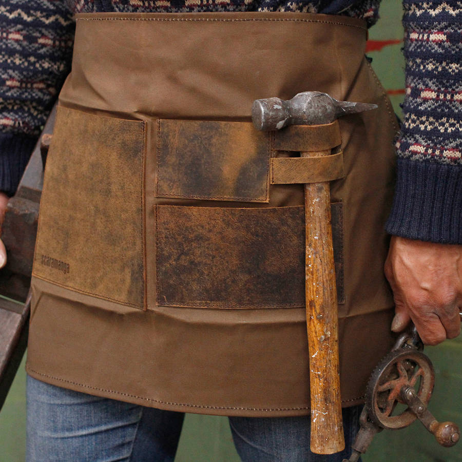 Brand-new personalised half waxed canvas and leather work apron by  NG12