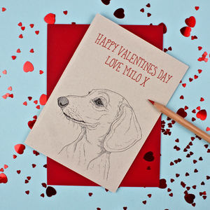 Dachshund Valentines Day Card - personalised cards