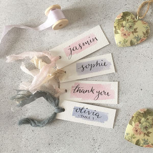 Personalised Watercolour Wedding Favour Place Name Tags