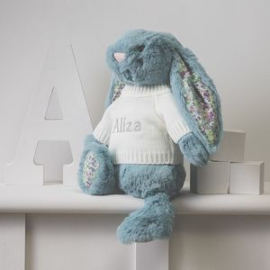 Personalised Blossom Aqua Bunny Soft Toy