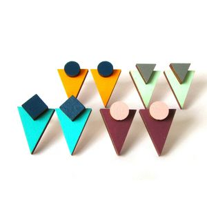 Geometric Triangle Stud Earrings - earrings