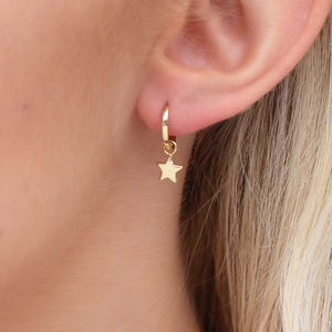 18ct Gold And Sterling Silver Star Charm Earrings