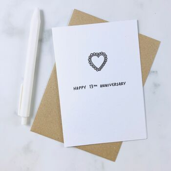 'Happy 13th Anniversary' Lace Card