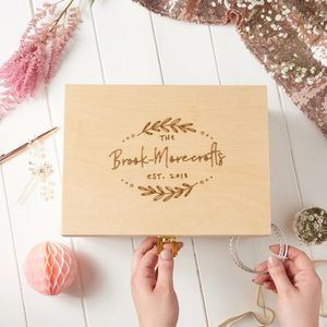 Personalised Couples Botanical Wedding Keepsake Box - new in wedding styling