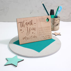 Personalised 'Thank You Teacher' Wooden Post Card - gifts for teachers