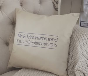 Personalised Embroidered Mr And Mrs Wedding Cushion - view all