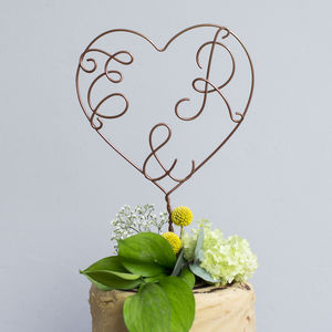 Heart Initial Wire Cake Topper