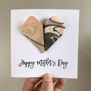 Personalised Origami Heart Mother's Day Card