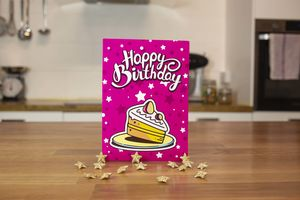 Pink Chocolate Brownie Birthday Card