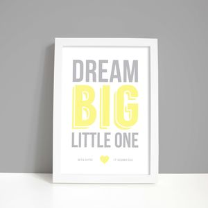Personalised 'Dream Big' Nursery Print - gifts for babies