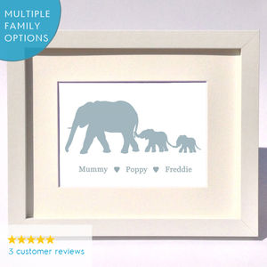 Personalised Elephant Family Print