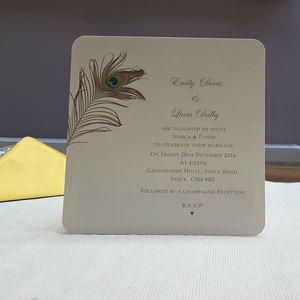 'Peacock Feather Wedding Invitations' - invitations