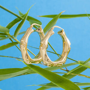 Bamboo Hoop Earrings In Gold And Silver