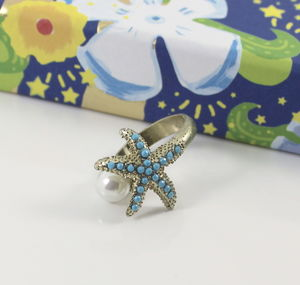 Turquoise Starfish And Pearl Ring - women's sale