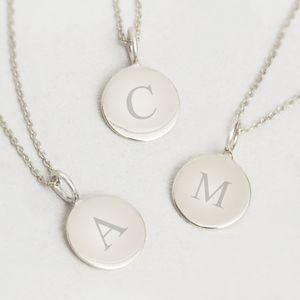 Contemporary Sterling Silver Initial Pendant Necklace - more