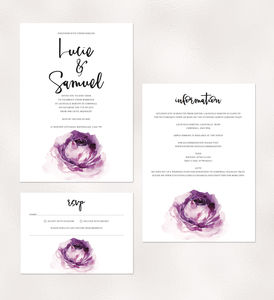 'Bloom' Violet Rose Illustrated Wedding Invitations