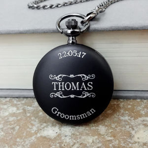 Personalised Engraved Wedding Party Pocket Watch - men's accessories
