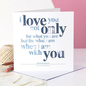 Personalised Valentine Card; Hand Stamped I Love You