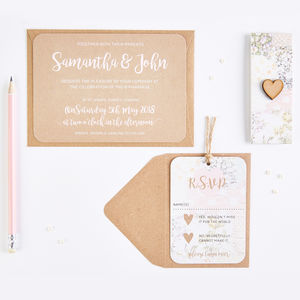 Wedding Invitation Set Kraft Floral Patchwork - invitations