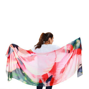 Womens Printed Cashmere Silk Scarf, Florida Flamingos - for her