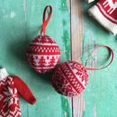 Knitted Nordic Red And White Baubles