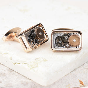 Rose Gold Cog Cufflinks - cufflinks