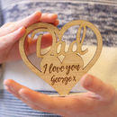 Personalised Wooden Heart Daddy Stand