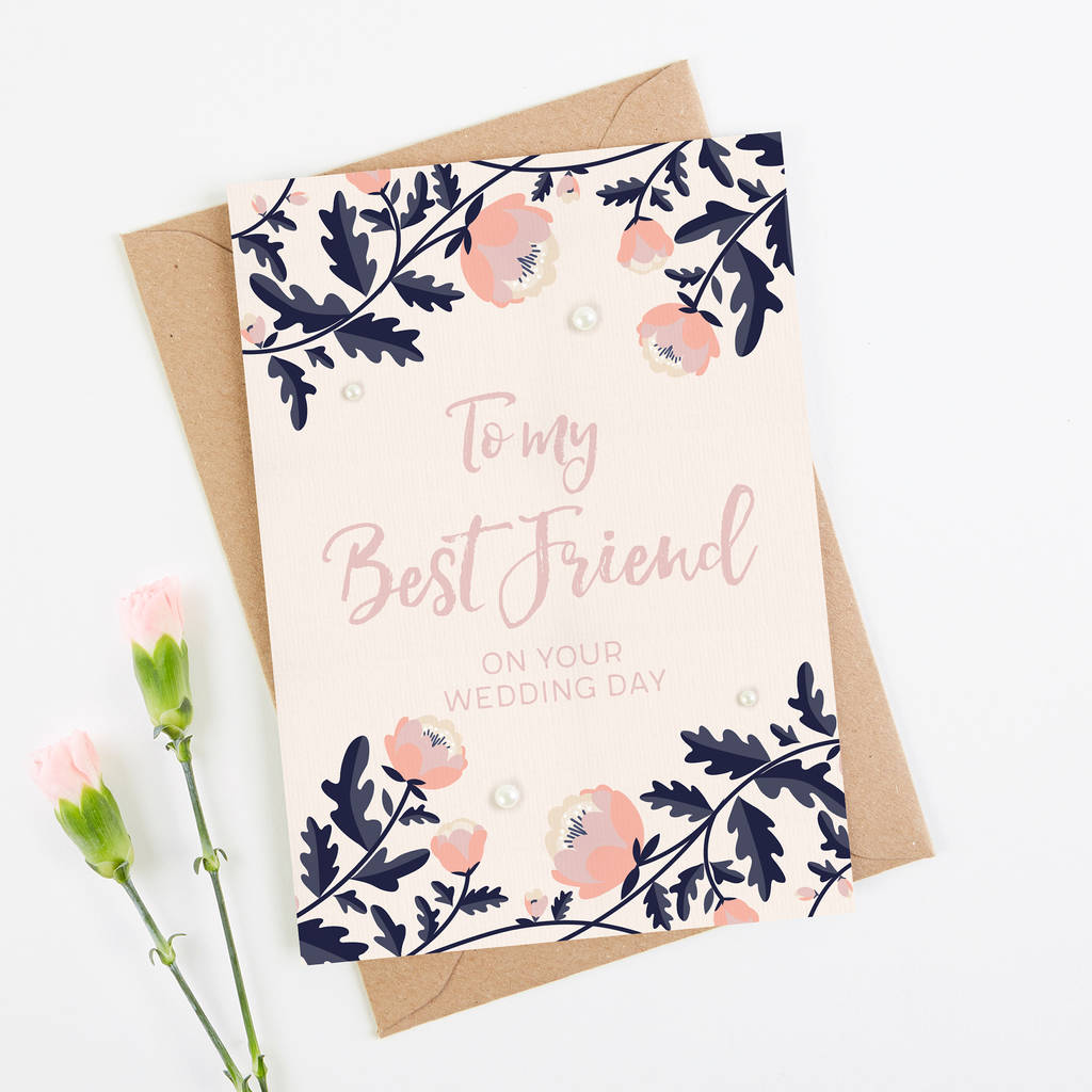 Best Time Of Day For Wedding: Best Friend Wedding Day Card Blush And Navy Floral By