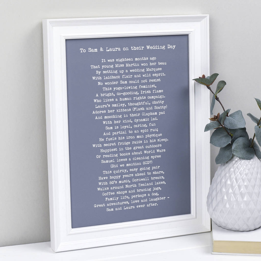 Wedding Gifts For Travel Couples The Ultimate List 2020: Personalised Poem For A Wedding Bespoke Verse By Bespoke