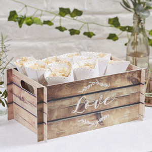 Pop Up Card Wooden Print Wedding Crate/ Bushel Box