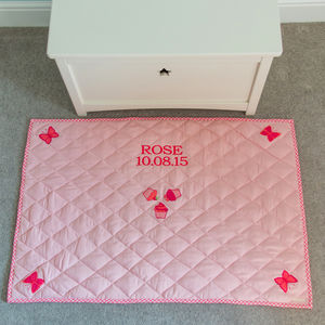 Pink Butterfly And Cupcake Children's Floor Quilt - rugs & mats