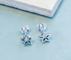 Star Silver Stud Earrings - earrings