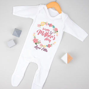 Personalised First Mother's Day Pink/Green Babygrow - first mother's day gifts