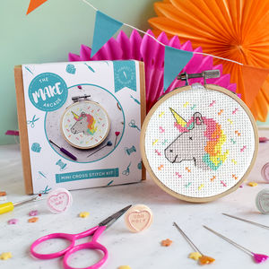Unicorn Mini Cross Stitch Craft Kit - stocking fillers