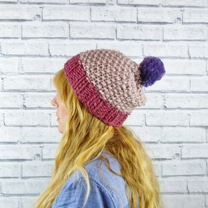 Colour Block Pinks Bobble Hat - hats, scarves & gloves