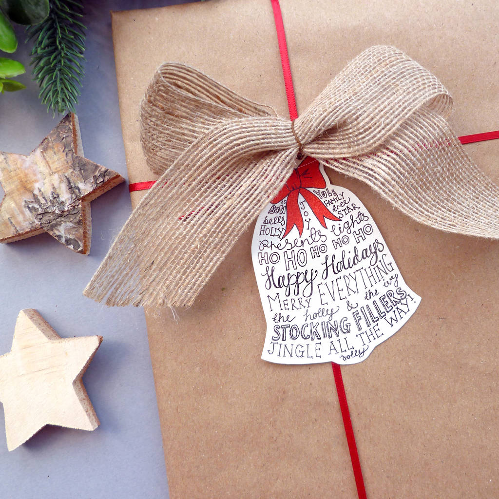 Hand Lettered Bell Christmas Gift Tags