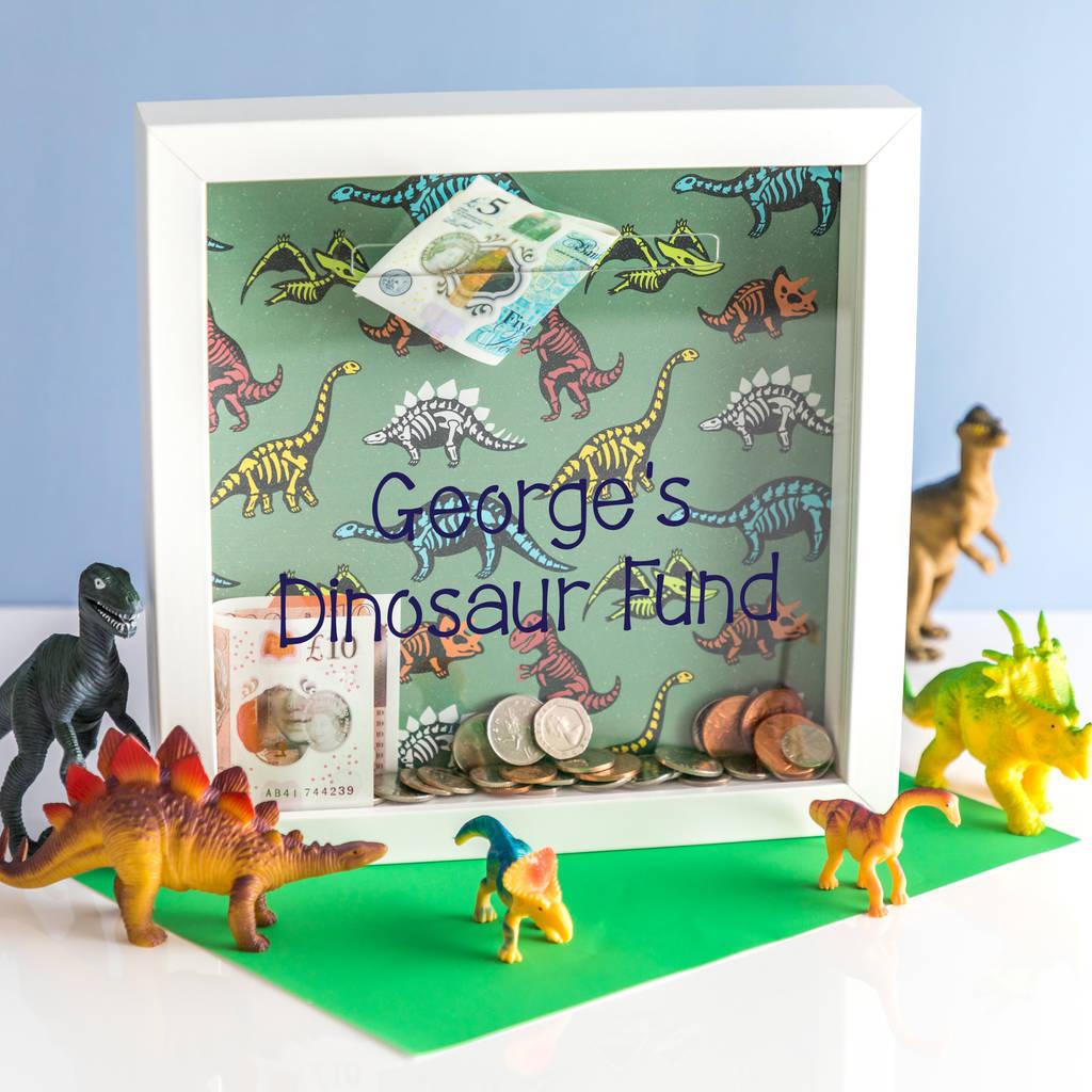 personalised dinosaur print money box frame by mirrorin