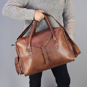 Large Personalised Vintage Style Leather Cabin Bag