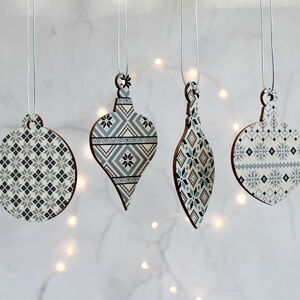 Christmas Tree Decoration, Nordic Fair Isle Set