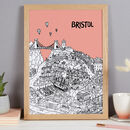 Bristol print in colour 1 Melon, A3 size framed in oak