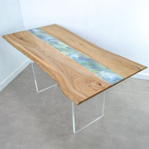 Handmade Live Edge Dining Table With Resin Art Detail