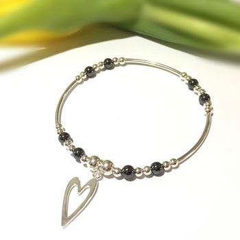 Sterling Silver And Hematite Heart Bracelet