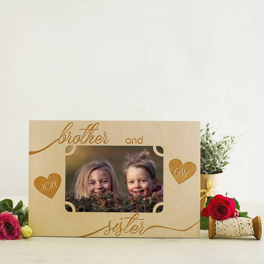 brother and sister personalised photo frame by natural gift store ...