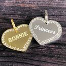 Heart Diamante Dog Tag
