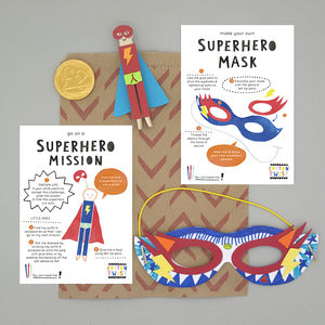 Superhero Party Bag With Mask And Peg Doll Kits - children's parties