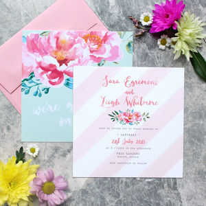 Pink Watercolour Peonies Wedding Invitation